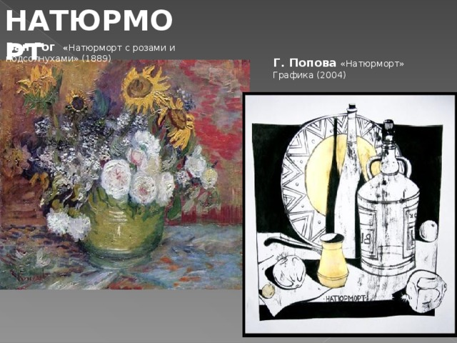 НАТЮРМОРТ Ван Гог « Натюрморт с розами и подсолнухами» (1889)   Г. Попова  «Натюрморт» Графика (2004)