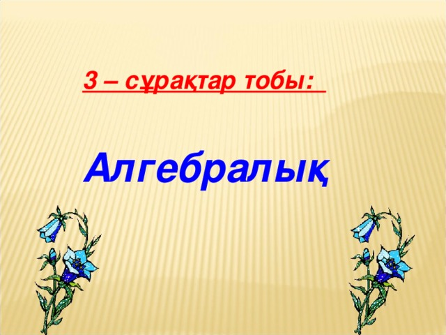 3 – сұрақтар тобы:   Алгебралық  11