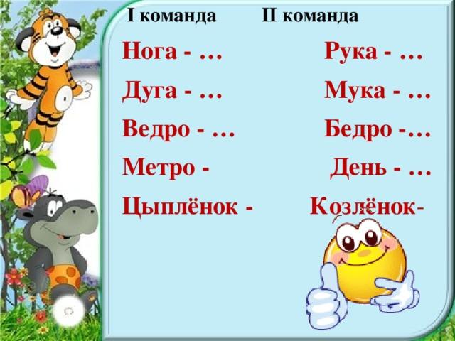 I команда II команда Нога - … Рука - … Дуга - … Мука - … Ведро - … Бедро -… Метро - День - … Цыплёнок - Козлёнок -