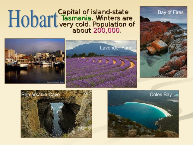 Capital of island-state Tasmania . Winters are very cold. Population of about 200,000 . Bay of Fires Lavender Farm Coles Bay Remarkable Cave