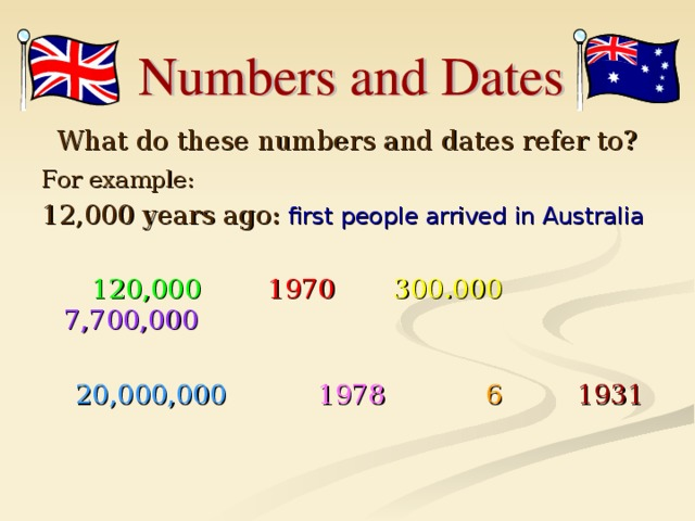 What do these numbers and dates refer to? For example:  12,000 years ago:  first people arrived in Australia   120,000   1970   300.000 7,700,000  20,000,000 1978  6   1931