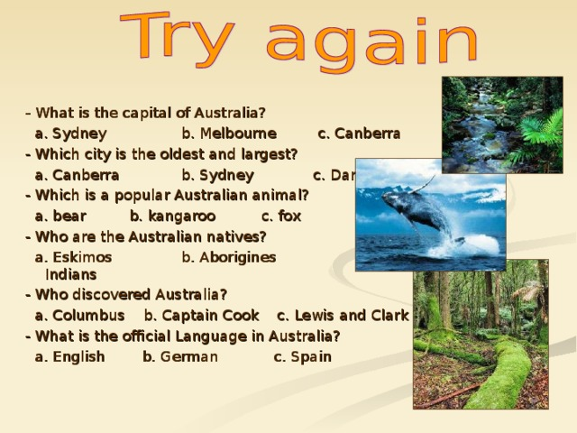 - What is the capital of Australia?  a. Sydney  b. Melbourne c. Canberra - Which city is the oldest and largest?  a. Canberra  b. Sydney c. Darwin - Which is a popular Australian animal?  a. bear  b. kangaroo c. fox - Who are the Australian natives?  a. Eskimos  b. Aborigines  c. Indians - Who discovered Australia?  a. Columbus b. Captain Cook c. Lewis and Clark - What is the official Language in Australia?  a. English b. German c. Spain