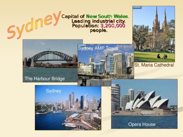 Capital of New South Wales . Leading industrial city. Population: 3,200,000 people . Sydney AMP Tower St. Maria Cathedral The Harbour Bridge Sydney Opera House