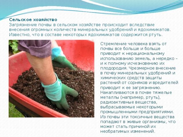 Стремление человека взять от почвы все больше и больше приводит к нерациональному использованию земель, а нередко – и к полному исчезновению их плодородия. Чрезмерное внесение в почву минеральных удобрений и химических средств защиты растений от сорняков и вредителей приводит к ее загрязнению. Накапливаются в почве тяжелые металлы (например, ртуть), радиоактивные вещества, выбрасываемые некоторыми промышленными предприятиями. Из почвы эти токсичные вещества попадают в живые организмы, что может стать причиной их необратимых изменений. Сельское хозяйство  Загрязнение почвы в сельском хозяйстве происходит вследствие внесения огромных количеств минеральных удобрений и ядохимикатов. Известно, что в составе некоторых ядохимикатов содержится ртуть.