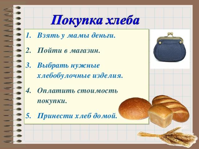 Взять у мамы деньги. Пойти в магазин. Выбрать нужные хлебобулочные изделия. Оплатить стоимость покупки. Принести хлеб домой.