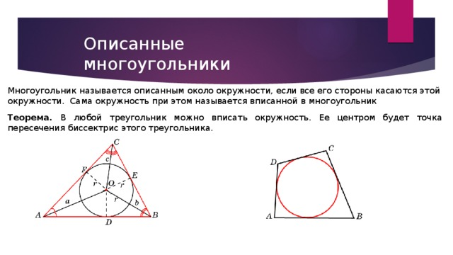 Описанные многоугольники Многоугольник называется описанным около окружности, если все его стороны касаются этой окружности. Сама окружность при этом называется вписанной  в многоугольник Теорема.  В любой треугольник можно вписать окружность. Ее центром будет точка пересечения биссектрис этого треугольника.