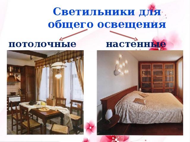 Светильники для общего освещения потолочные настенные