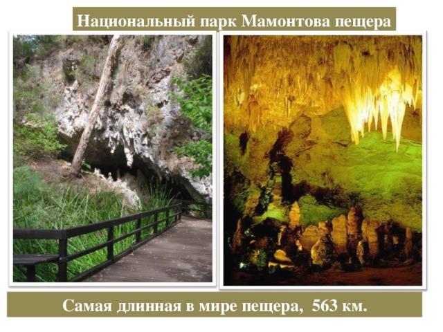 Национальный парк Мамонтова пещера Самая длинная в мире пещера, 563 км.