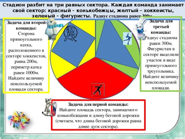 Стадион разбит на три равных сектора. Каждая команда занимает свой сектор: красный – конькобежцы, желтый – хоккеисты, зеленый – фигуристы. Радиус стадиона равен 300м. Задача для третьей команды: Радиус стадиона равен 300м. Фигуристам в секторе выделили участок в виде прямоугольного треугольника. Найдите величину неиспользуемой площади. Задача для второй команды: Сторона прямоугольного катка, расположенного в секторе хоккеистов, равна 200м, периметр катка равен 1000м. Найдите величину неиспользуемой площади сектора. Задача для первой команды: Найдите площадь сектора, занимаемого конькобежцами и длину беговой дорожки (считаем, что длина беговой дорожки равна длине дуги сектора).