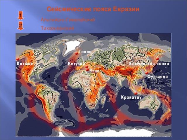 Сейсмические пояса Евразии 1 Альпийско-Гималайский Тихоокеанский 2