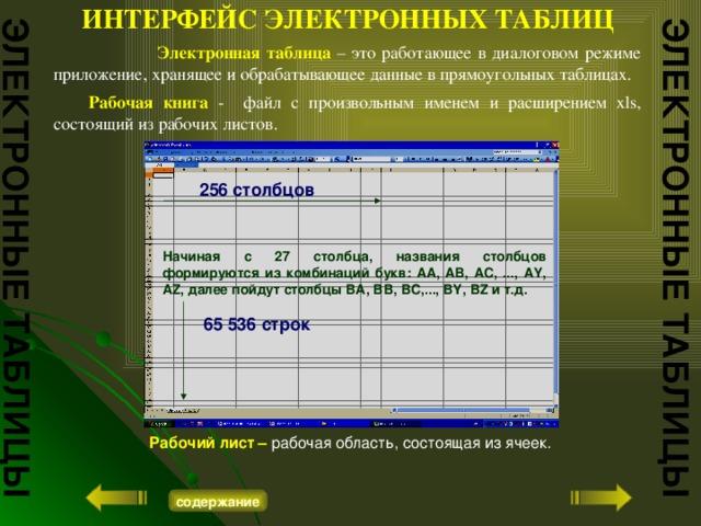 ИНТЕРФЕЙС ЭЛЕКТРОННЫХ ТАБЛИЦ ЭЛЕКТРОННЫЕ ТАБЛИЦЫ ЭЛЕКТРОННЫЕ ТАБЛИЦЫ  Электронная таблица  – это работающее в диалоговом режиме приложение, хранящее и обрабатывающее данные в прямоугольных таблицах.  Рабочая книга -  файл с произвольным именем и расширением xls, состоящий из рабочих листов. 256 столбцов Начиная с 27 столбца, названия столбцов формируются из комбинаций букв: AA, AB, AC, ..., AY, AZ, далее пойдут столбцы BA, BB,BC,...,BY, BZ и т.д. 65 536 строк Рабочий лист – рабочая область, состоящая из ячеек. содержание