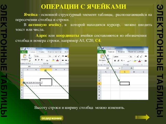 ЭЛЕКТРОННЫЕ ТАБЛИЦЫ ЭЛЕКТРОННЫЕ ТАБЛИЦЫ ОПЕРАЦИИ С ЯЧЕЙКАМИ  Ячейка - основной структурный элемент таблицы, располагающийся на пересечении столбца и строки.  В активную ячейку , в которой находится курсор, можно вводить текст или числа.    Адрес или координаты ячейки составляются из обозначения столбца и номера строки, например А1, С20, С4 .  Высоту строки и ширину столбца можно изменять. содержание