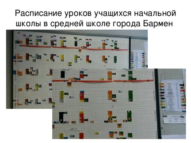 Расписание уроков учащихся начальной школы в средней школе города Бармен