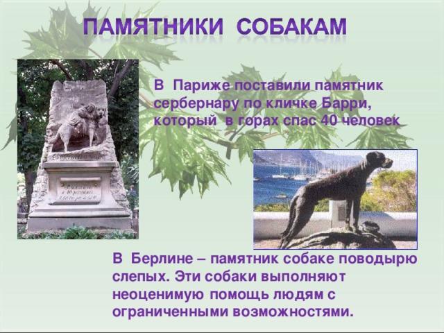 В Париже поставили памятник сербернару по кличке Барри, который в горах спас 40 человек В Берлине – памятник собаке поводырю слепых. Эти собаки выполняют неоценимую помощь людям с ограниченными возможностями.