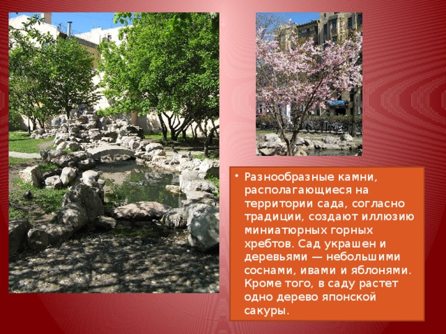 Разнообразные камни, располагающиеся на территории сада, согласно традиции, создают иллюзию миниатюрных горных хребтов. Сад украшен и деревьями — небольшими соснами, ивами и яблонями. Кроме того, в саду растет одно дерево японской сакуры.