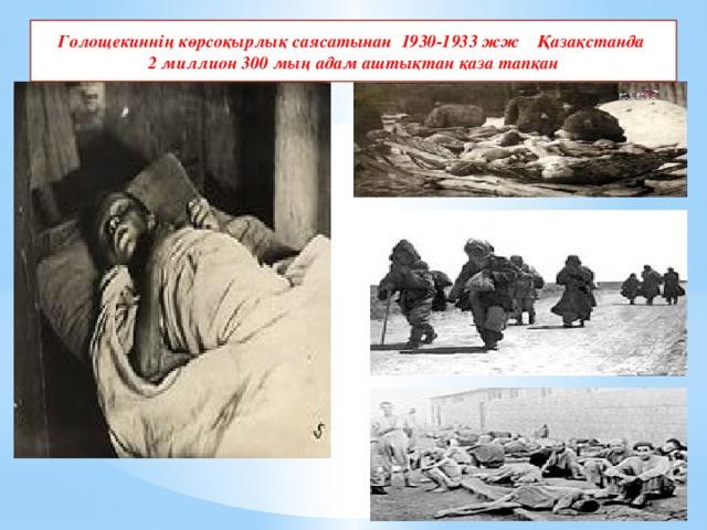 Голощекиннің көрсоқырлық саясатынан 1930-1933 жж Қазақстанда 2 миллион 300 мың адам аштықтан қаза тапқан