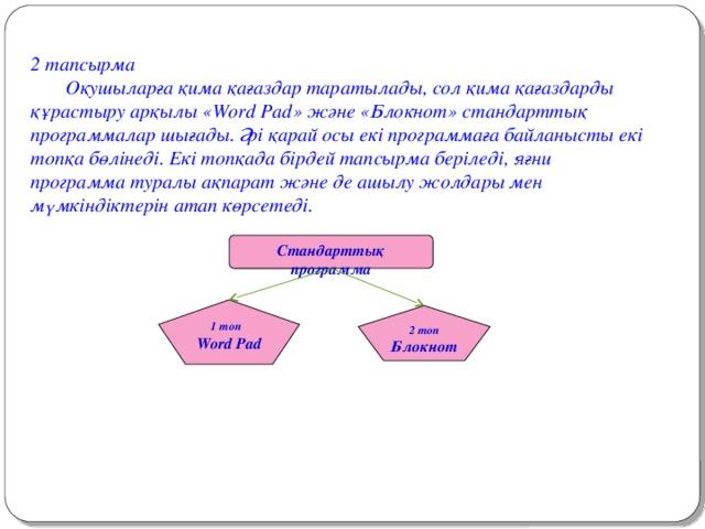 2 тапсырма  Оқушыларға қима қағаздар таратылады, сол қима қағаздарды құрастыру арқылы «Word Pad» және «Блокнот» стандарттық программалар шығады. Әрі қарай осы екі программаға байланысты екі топқа бөлінеді. Екі топқада бірдей тапсырма беріледі, яғни программа туралы ақпарат және де ашылу жолдары мен мүмкіндіктерін атап көрсетеді. Стандарттық программа 1 топ Word Pad 2 топ Блокнот