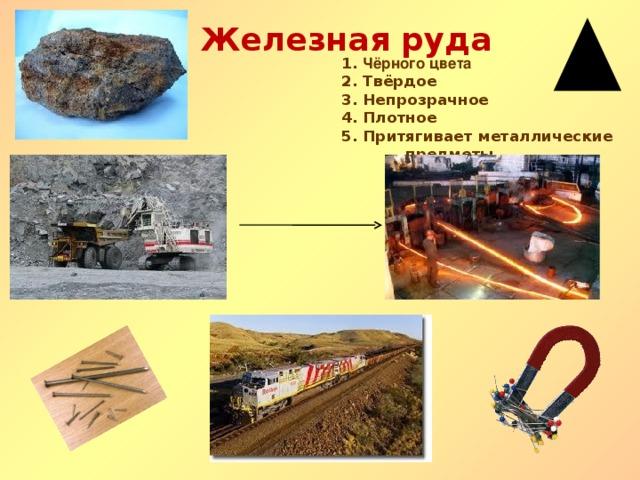 Железная руда 1. Чёрного цвета 2. Твёрдое 3. Непрозрачное 4. Плотное 5. Притягивает металлические предметы