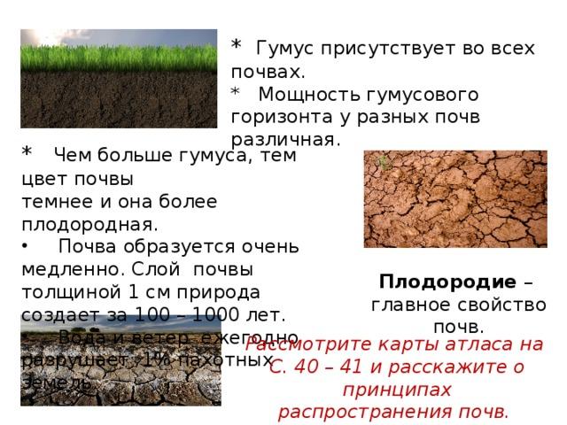 * Гумус присутствует во всех почвах. * Мощность гумусового горизонта у разных почв различная. * Чем больше гумуса, тем цвет почвы темнее и она более плодородная.  Почва образуется очень медленно. Слой почвы толщиной 1 см природа создает за 100 – 1000 лет.  Вода и ветер ежегодно разрушает 1% пахотных земель. Плодородие – главное свойство почв. Рассмотрите карты атласа на С. 40 – 41 и расскажите о принципах распространения почв.