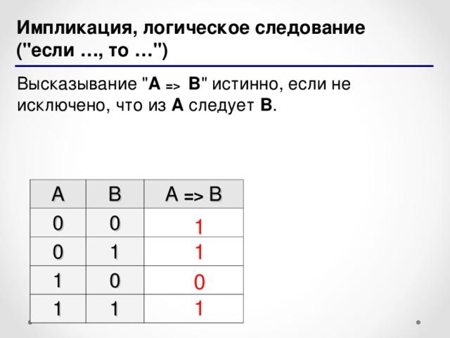 Импликация, логическое следование (