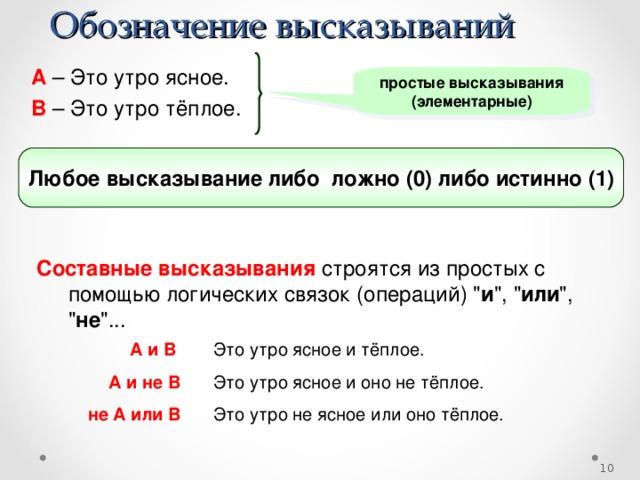 Обозначение высказываний A  – Это утро ясное. B  – Это утро тёплое. простые высказывания (элементарные) Любое высказывание либо ложно (0) либо истинно (1) Составные высказывания строятся из простых с помощью логических связок (операций)