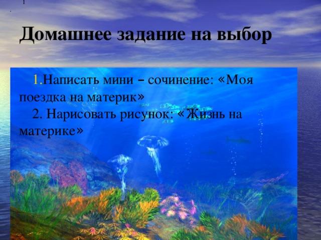 1. Домашнее задание на выбор   Написать мини – сочинение: « Моя поездка на материк » 2. Нарисовать рисунок: « Жизнь на материке »