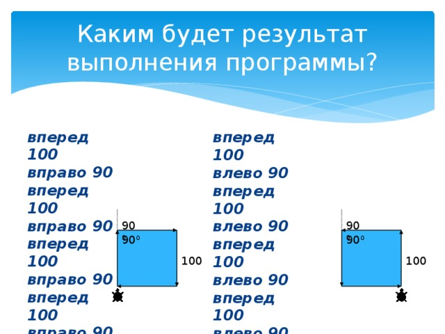Каким будет результат выполнения программы? вперед 100 вправо 90 вперед 100 вправо 90 вперед 100 вправо 90 вперед 100 вправо 90 вперед 100 влево 90 вперед 100 влево 90 вперед 100 влево 90 вперед 100 влево 90 90 0 90 0 90 0 90 0 100 100