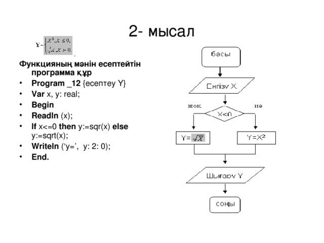 2- мысал Функцияның мәнін есептейтін программа құр
