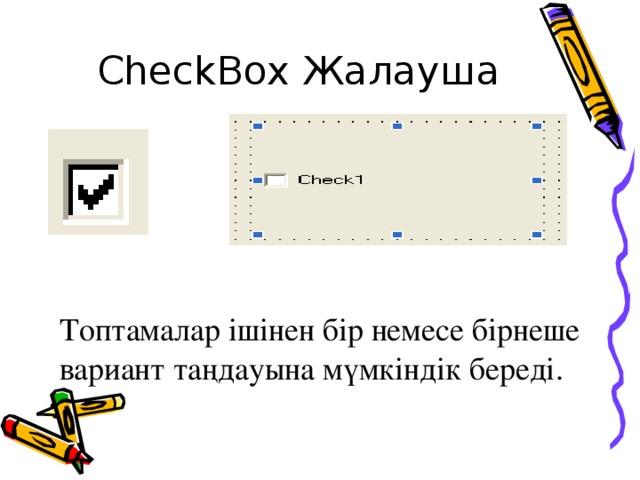 CheckBox Жалауша Топтамалар ішінен бір немесе бірнеше вариант таңдауына мүмкіндік береді.