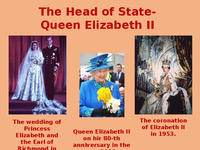 The Head of State-Queen Elizabeth II The coronation of Elizabeth II in 1953. The wedding of Princess Elizabeth and the Earl of Richmond in 1947, . Queen Elizabeth II on hir 80-th anniversary in the year 2006 .