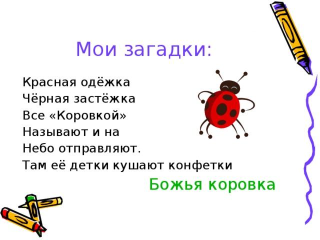 Мои загадки: Красная одёжка Чёрная застёжка Все «Коровкой» Называют и на Небо отправляют. Там её детки кушают конфетки  Божья коровка