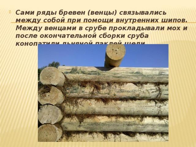 Сами ряды бревен (венцы) связывались между собой при помощи внутренних шипов. Между венцами в срубе прокладывали мох и после окончательной сборки сруба конопатили льняной паклей щели.
