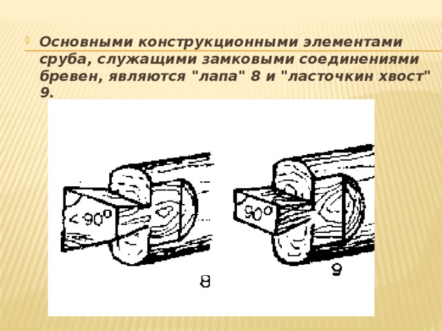 Основными конструкционными элементами сруба, служащими замковыми соединениями бревен, являются