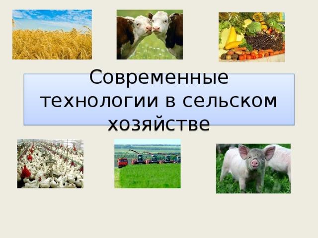 Современные технологии в сельском хозяйстве