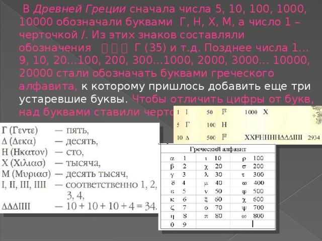 В Древней Греции сначала числа 5, 10, 100, 1000, 10000 обозначали буквами Г, Н, Х, М, а число 1 – черточкой /. Из этих знаков составляли обозначения      Г (35) и т.д. Позднее числа 1…9, 10, 20…100, 200, 300…1000, 2000, 3000… 10000, 20000 стали обозначать буквами греческого алфавита, к которому пришлось добавить еще три устаревшие буквы. Чтобы отличить цифры от букв, над буквами ставили черточку.