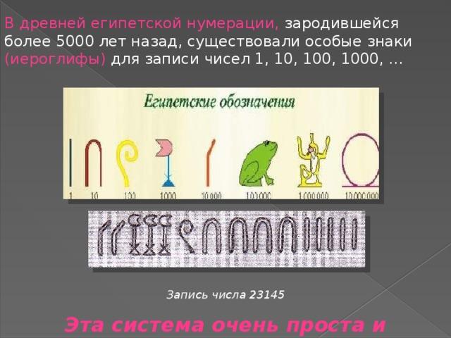 В древней египетской нумерации, зародившейся более 5000 лет назад, существовали особые знаки (иероглифы) для записи чисел 1, 10, 100, 1000, … Запись числа 23145 Эта система очень проста и примитивна .