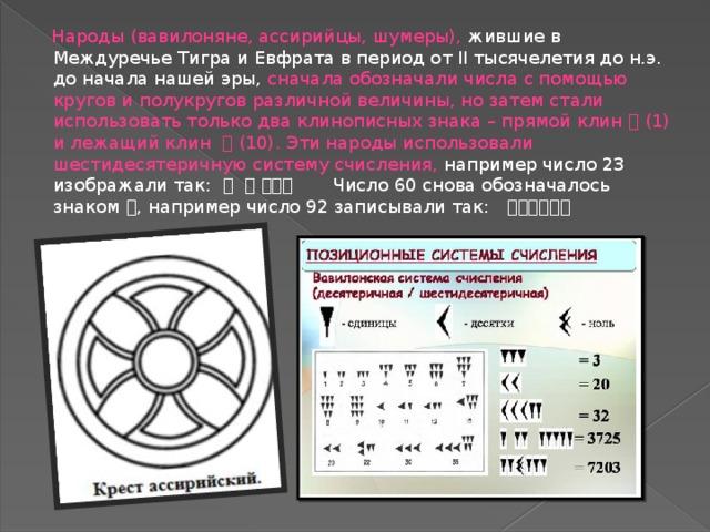 Народы (вавилоняне, ассирийцы, шумеры), жившие в Междуречье Тигра и Евфрата в период от II тысячелетия до н.э. до начала нашей эры, сначала обозначали числа с помощью кругов и полукругов различной величины, но затем стали использовать только два клинописных знака – прямой клин  (1) и лежащий клин  (10). Эти народы использовали шестидесятеричную систему счисления, например число 23 изображали так:      Число 60 снова обозначалось знаком  , например число 92 записывали так: 