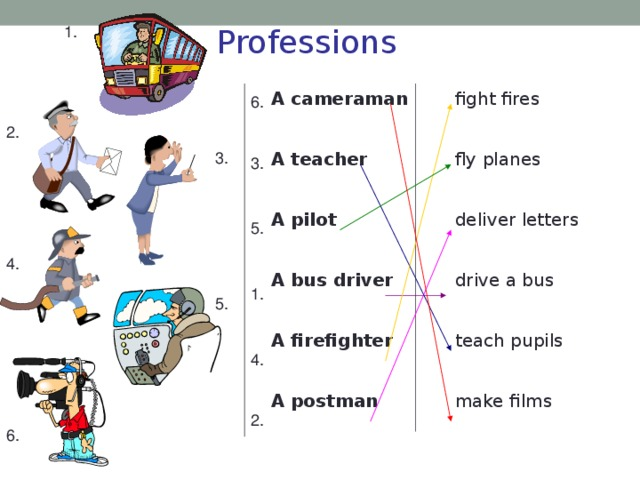 1. Professions A cameraman fight fires  A teacher fly planes  A pilot deliver letters  A bus driver drive a bus  teach pupils A firefighter  make films A postman 6. 2. 3. 3. 5. 4. 1. 5. 4. 2. 6.