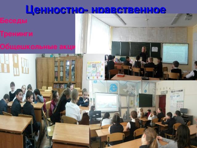 Ценностно- нравственное  Беседы Тренинги Общешкольные акции
