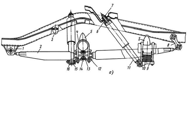 Рис. 3. Задняя подвеска автомобиля ГАЗ-24 «Волга»: а — обший вид;  1 — передний кронштейн; 2 - рессора; 3 - дополнительный буфер; 4 - стремянка; 5 - буфер; 6 - подушка амортизатора; 7 - тарелка; 8 - серьга; 9 - обойма; 10 - прокладки рессоры; 11 - амортизатор; 12 - прокладка: 13 - подушка рессоры; 14 - центровой болт; 15 - втулка; 16 - палец; 17 - шайба пальца; 18 - переднее ушко рессоры; 19 - резиновые втулки; 20 - палец; 21 - продольная балка кузова; 22 - планка; 23 - заднее ушко рессоры