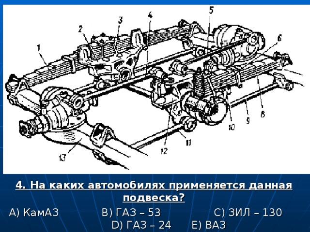 4. На каких автомобилях применяется данная подвеска? А) КамАЗ B ) ГАЗ – 53 C ) ЗИЛ – 130 D ) ГАЗ – 24 E ) ВАЗ
