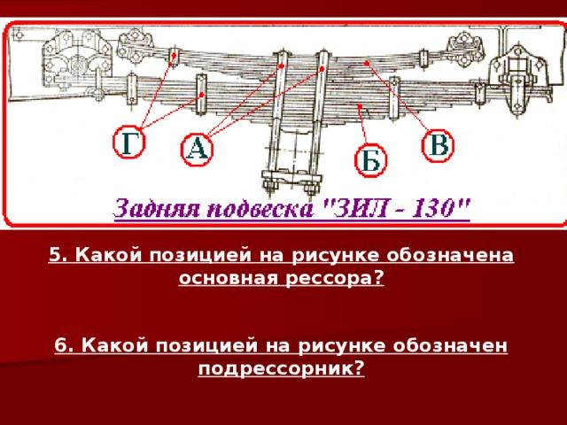 5. Какой позицией на рисунке обозначена основная рессора?   6. Какой позицией на рисунке обозначен подрессорник?