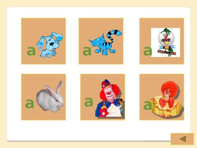 a a a a a a Вспомогательный слайд, на который можно перейти по гиперссылкам со слайдов 2-4. Позволяет составить высказывания о том, что или кто есть у персонажей. Предполагаемые к использованию лексические единицы: A dog, A cat, A parrot, A rabbit, А father, A mother. Стрелка снабжена гиперссылкой, отсылающей к последнему использованному слайду.