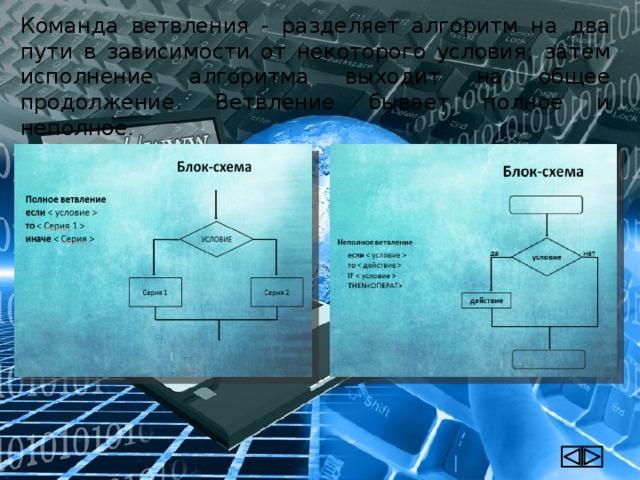 Команда ветвления - разделяет алгоритм на два пути в зависимости от некоторого условия; затем исполнение алгоритма выходит на общее продолжение. Ветвление бывает полное и неполное .