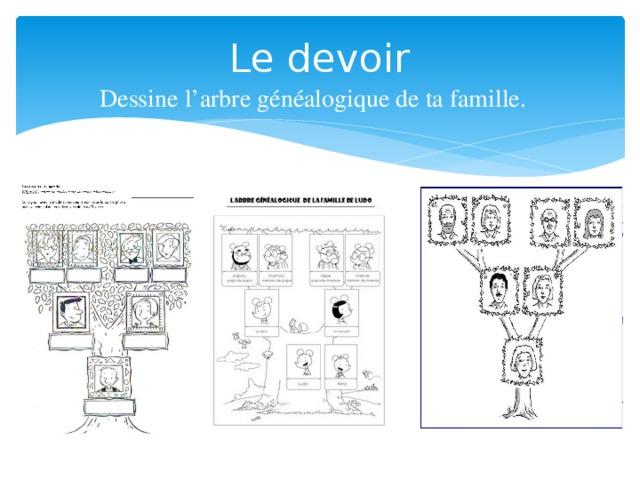 Le devoir Dessine l'arbre généalogique de ta famille.