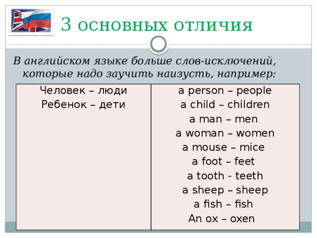 3 основных отличия В английском языке больше слов-исключений, которые надо заучить наизусть, например: Человек – люди a person – people Ребенок – дети a child – children a man – men a woman – women a mouse – mice a foot – feet a tooth - teeth a sheep – sheep a fish – fish An ox – oxen