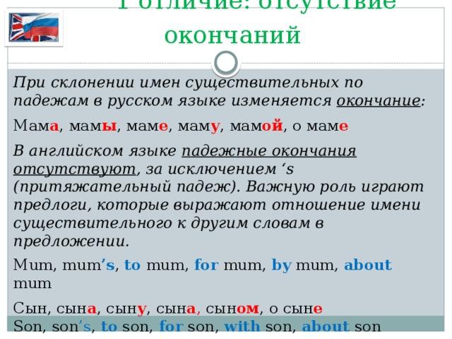 1 отличие: отсутствие окончаний При склонении имен существительных по падежам в русском языке изменяется окончание : Мам а , мам ы , мам е , мам у , мам ой , о мам е   В английском языке падежные окончания отсутствуют , за исключением 's (притяжательный падеж). Важную роль играют предлоги, которые выражают отношение имени существительного к другим словам в предложении. Mum, mum 's , to mum, for mum, by mum, about mum Сын, сын а , сын у , сын а , сын ом , о сын е   Son, son 's , to son, for son, with son, about  son