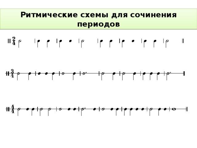 Ритмические схемы для сочинения периодов