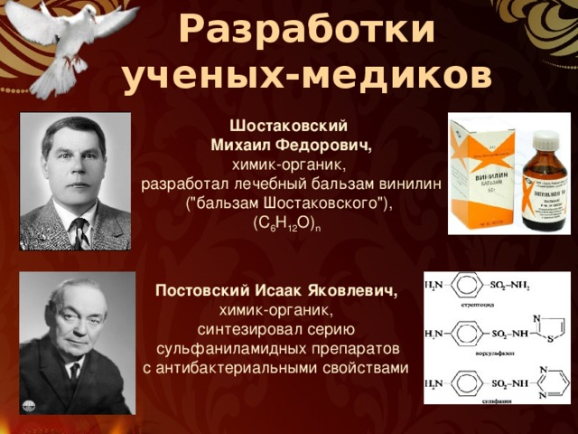 Разработки ученых-медиков Шостаковский  Михаил Федорович, химик-органик,  разработал лечебный бальзам винилин  (