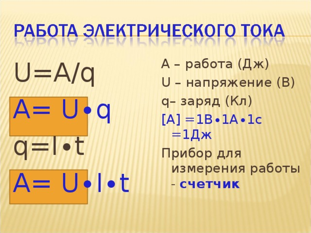 A – работа (Дж) U – напряжение (В) q – заряд (Кл) [ A] =1В∙1А∙1с =1Дж Прибор для измерения работы - счетчик  U = A/q A = U∙q q = I∙t A = U∙I∙t